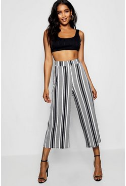 Womens Ivory High Waist Mono Stripe Wide Leg Culotte