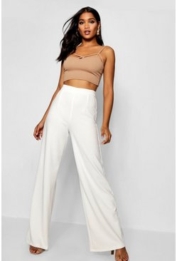 Womens Ivory Wide Leg Trouser