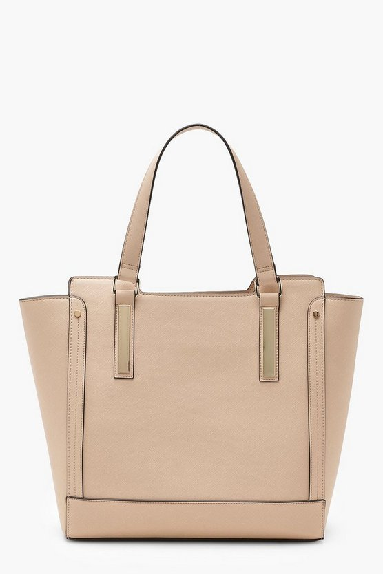 Womens Taupe Metal Detail Tote Bag