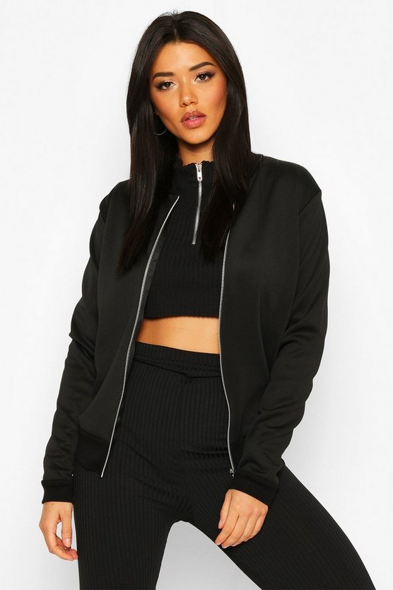 Womens Black Basic Bomber Jacket