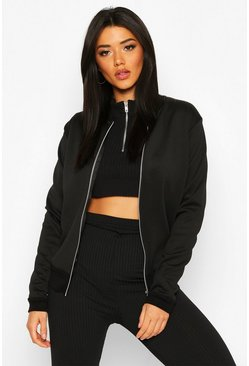 Black Basic Bomber Jacket
