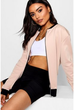 Womens Stone Basic Bomber Jacket