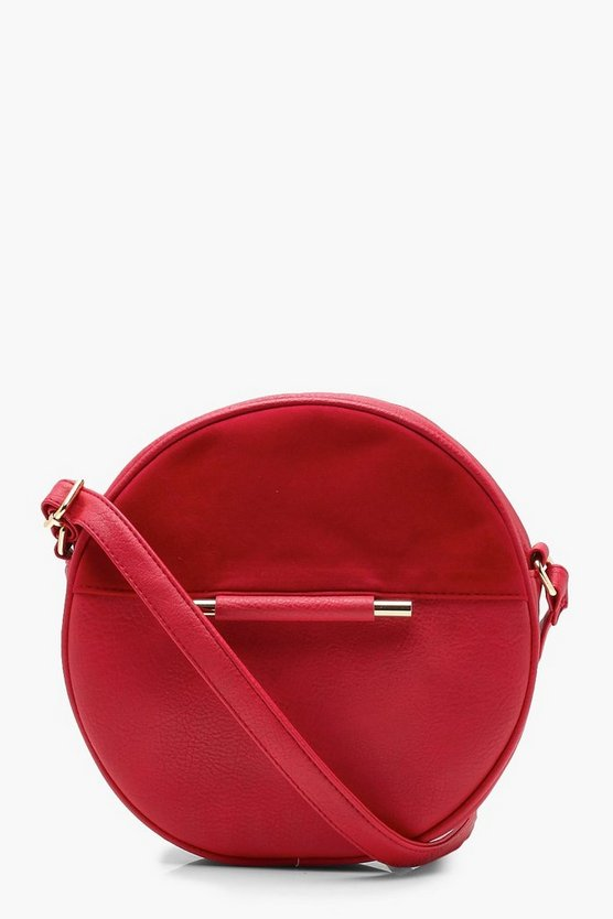 Womens Red Rachel Round Metal Detail Cross Body