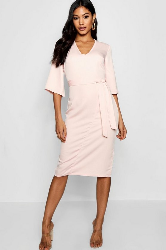 Nude Woven Belted Midi Dress