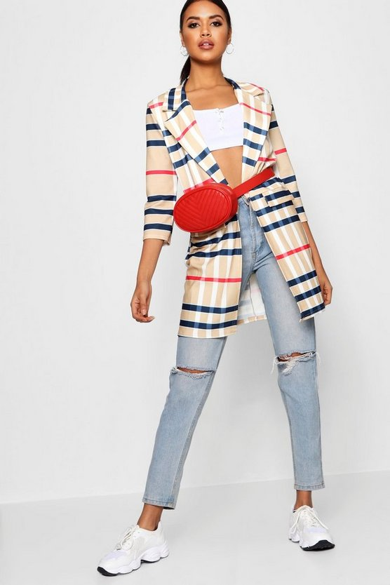 Coloured Check Pocket Duster Jacket