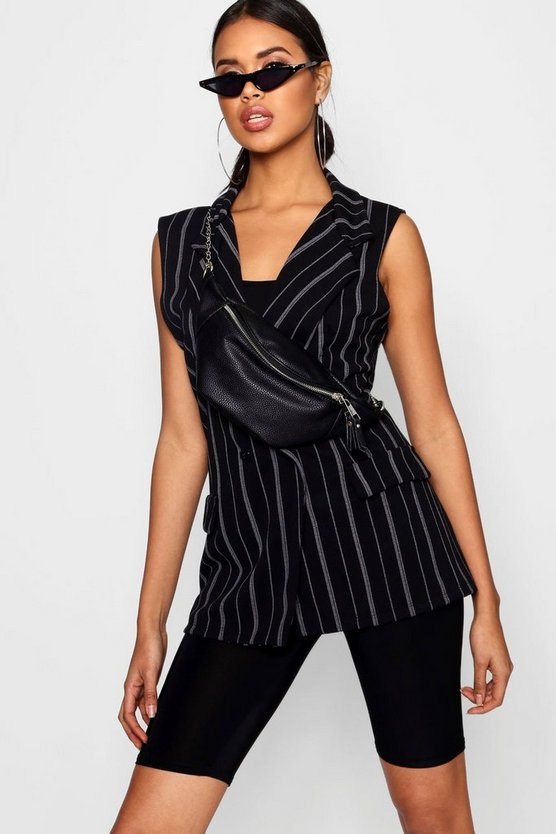 Black Double Breasted Sleeveless Stripe Blazer