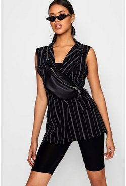 Womens Black Double Breasted Sleeveless Stripe Blazer