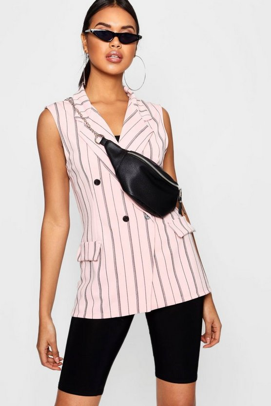 Double Breasted Sleeveless Stripe Blazer