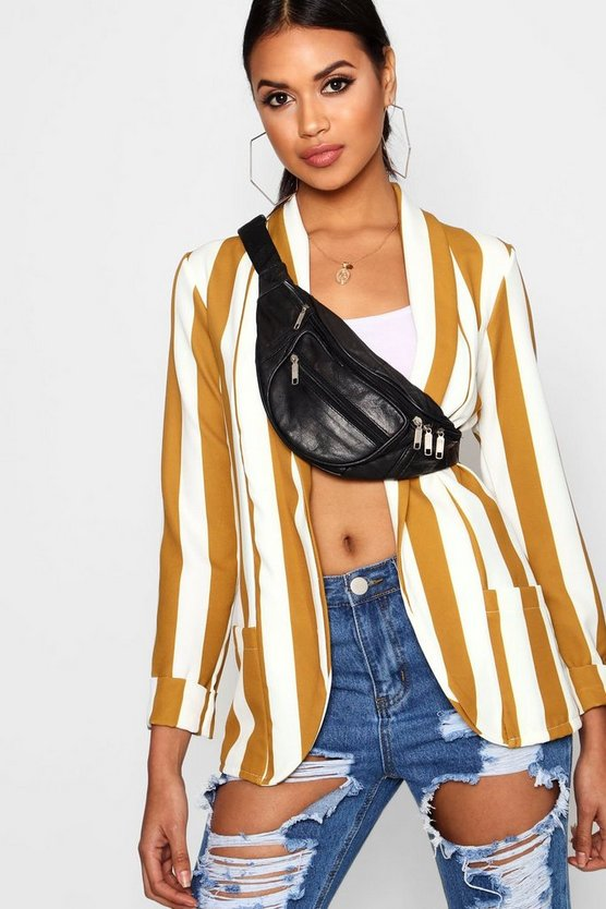 Stripe Pocket Collared Blazer