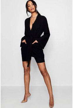 Womens Black Belted Oversized Pocket Blazer