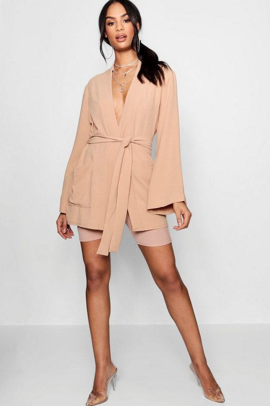 Belted Oversized Pocket Blazer