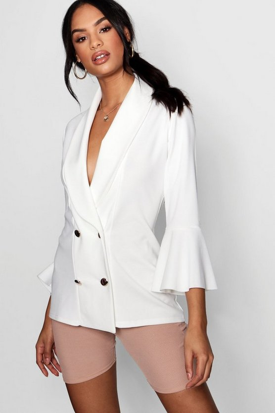 Flared Sleeve Double Breasted Blazer