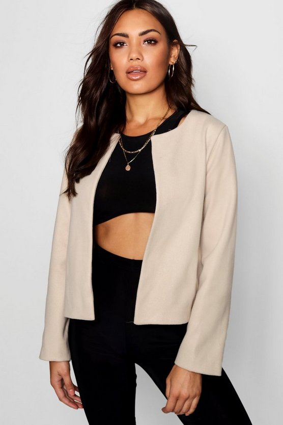 Collarless Cropped Woven Jacket