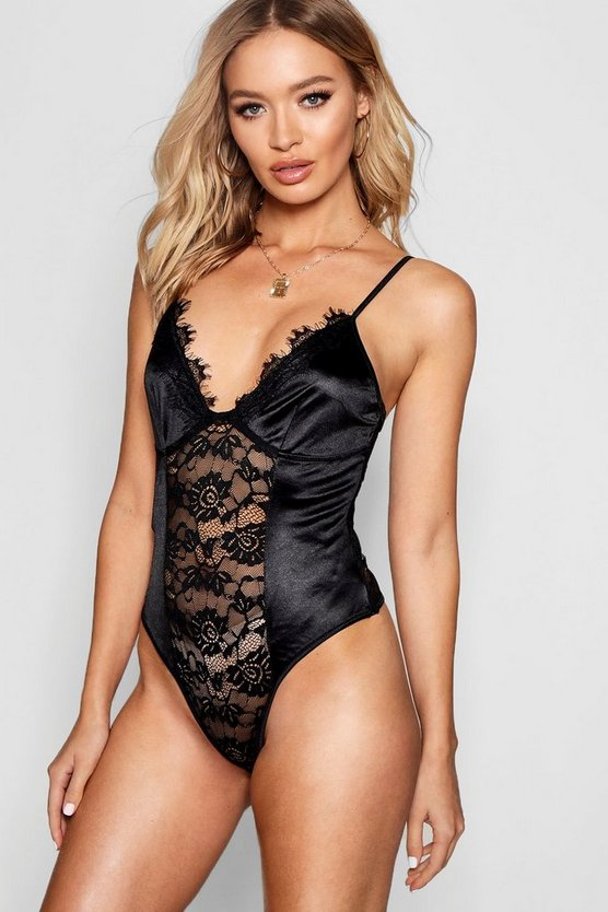 Womens Black Satin & Lace Insert Bodysuit