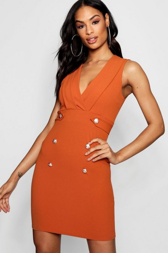 Womens Rust Sleeveless Pleated Military Button Bodycon Dress