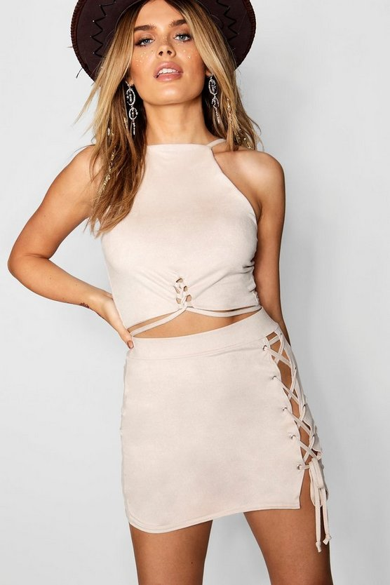 Suedette Lace Up Square Neck Crop