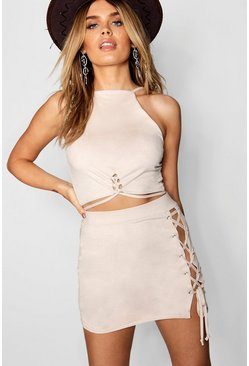 Womens Nude Suedette Lace Up Square Neck Crop
