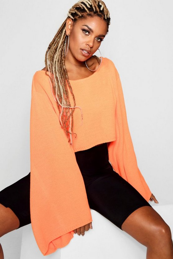 Neon Wide Sleeve Box Crop Knitted Jumper