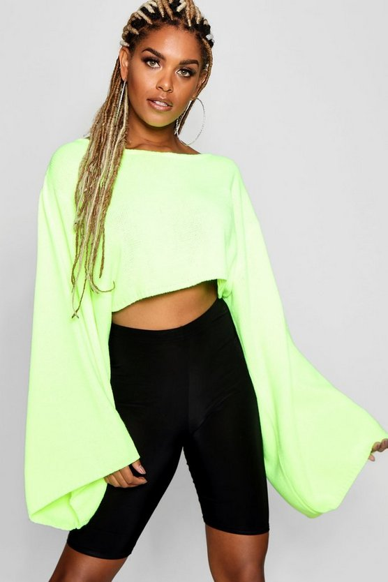 Neon Wide Sleeve Box Crop Jumper