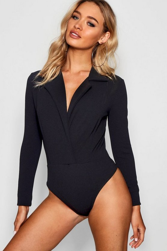 Womens Black Lapel Plunge Crepe Bodysuit