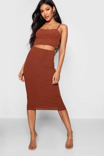 Womens Caramel Square Neck Strappy Midi Skirt Co-ord Set