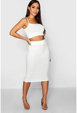 Ivory Square Neck Strappy Midi Skirt Co-ord Set