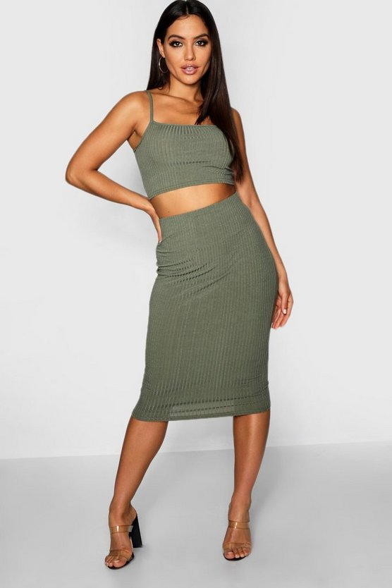 Womens Sage Square Neck Strappy Midi Skirt Co-ord Set