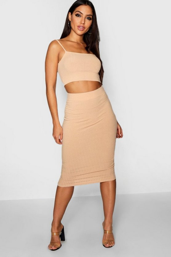 Square Neck Strappy Midi Skirt Co-ord Set