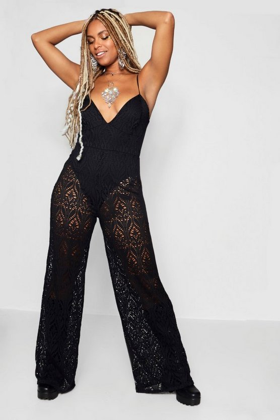 Lace Wide Leg Plunge Jumpsuit