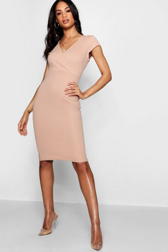 Wrap Neckline Short Sleeve Midi Dress