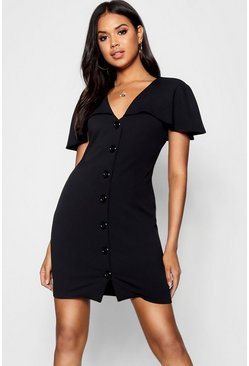 Womens Black Button Detail Cape Bodycon Dress