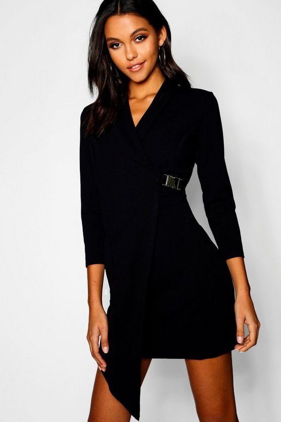 Buckle Detail Wrap Blazer Dress