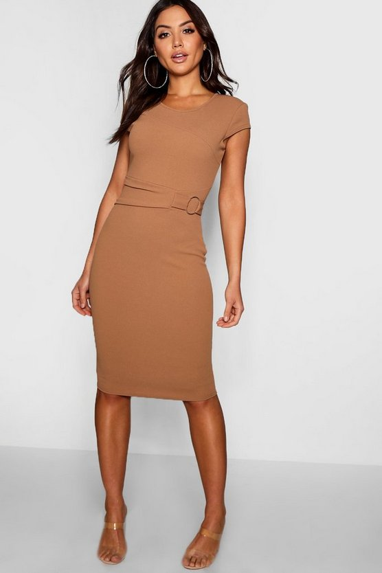 Ring Detail Pleat Waist Midi Dress