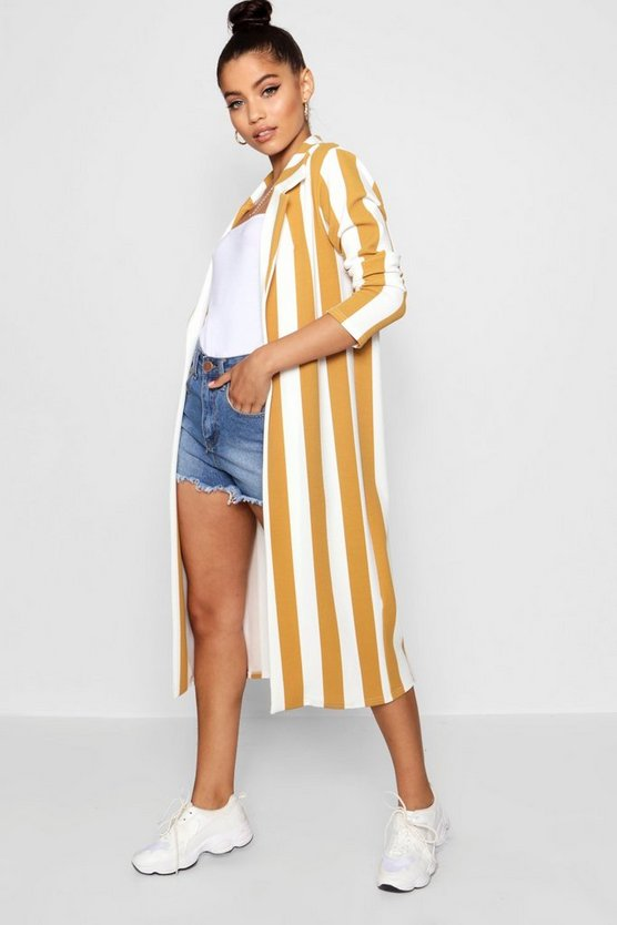 Stripe Collared Duster Jacket