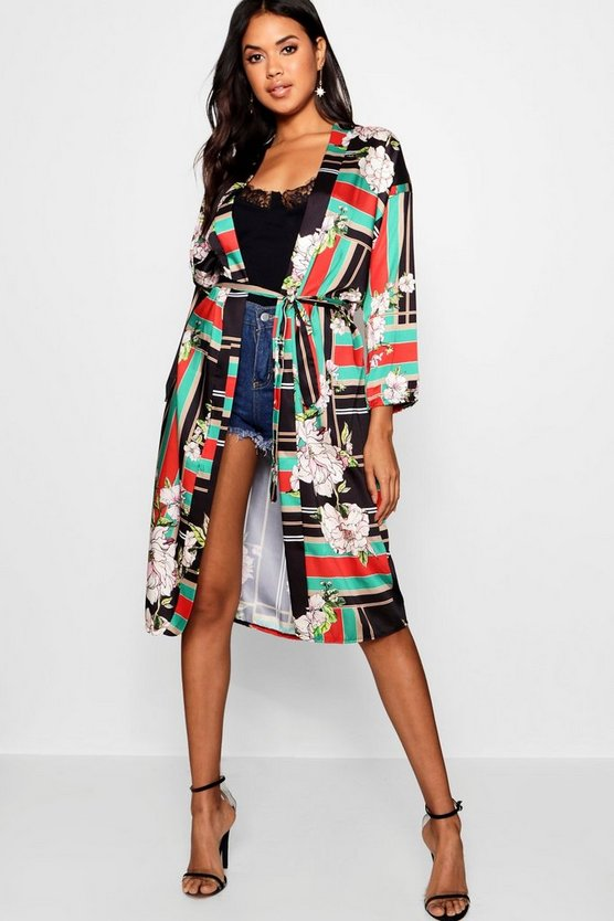 Printed Belted Kimono