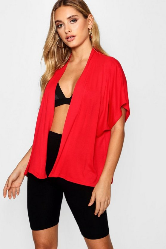 Womens Red Wide Sleeve Jersey Kimono