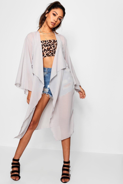 gris manga Kimono en cascada con ancha watxnSarXq