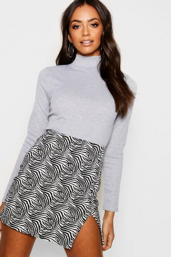 Turtle Neck Rib Knit Jumper
