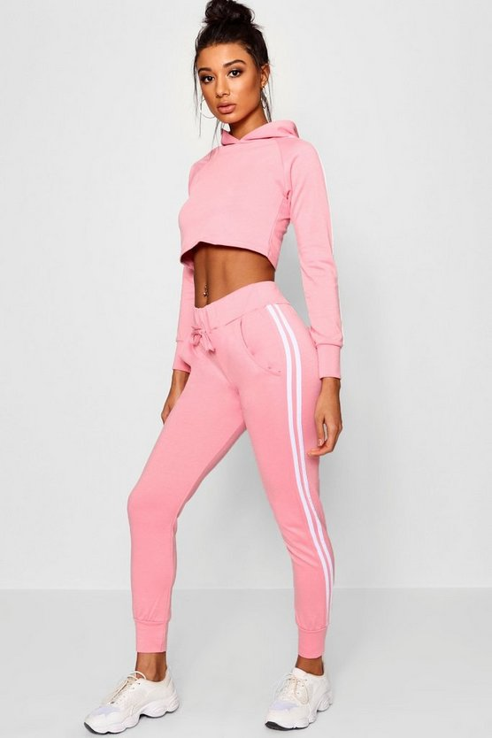 Pink Athleisure Sports Stripe Tracksuit