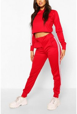 Red Athleisure Sports Stripe Tracksuit