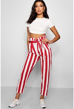 Womens Red Paperbag Waist Stripe Trouser