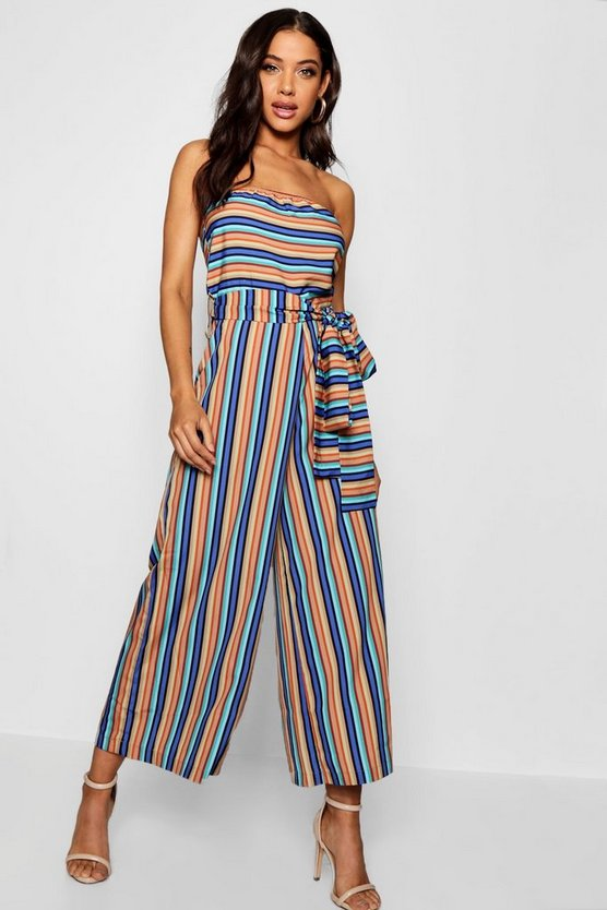 Strapless Belted Wide Leg Jumpsuit