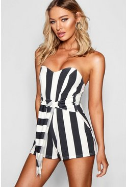 Womens Black Stripe Knot Front Playsuit