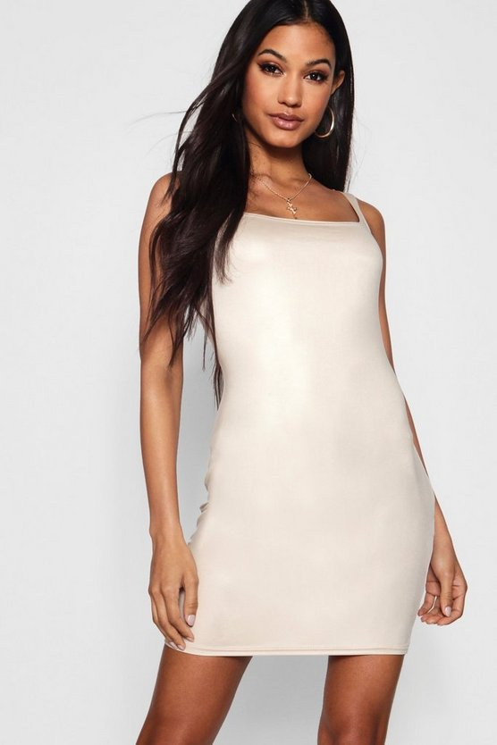 Disco Slinky Sqaure Neck Bodycon Dress