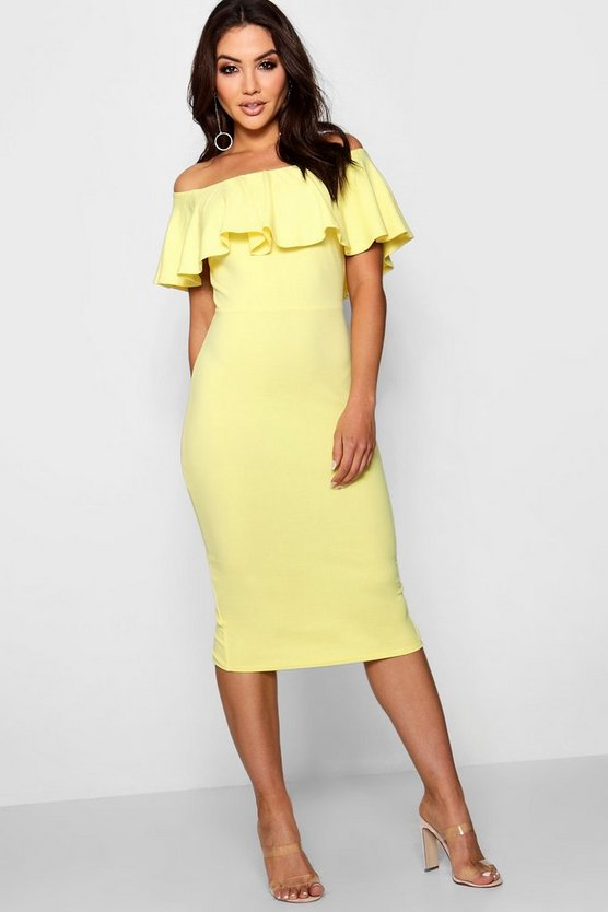 Womens Lemon Off the Shoulder Midi Dress