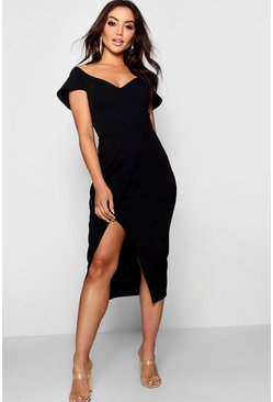 Womens Black Off the Shoulder Wrap Skirt Midi Dress
