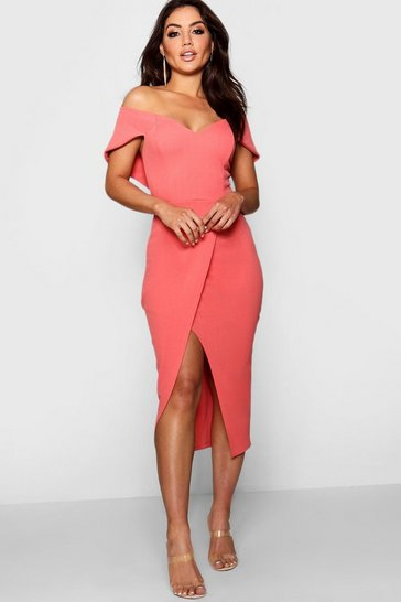 Womens Coral blush Off the Shoulder Wrap Skirt Midi Dress