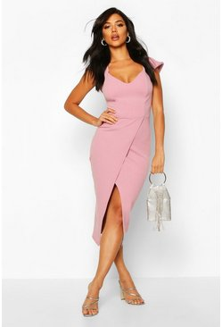 Womens Dusky pink Off the Shoulder Wrap Skirt Midi Dress