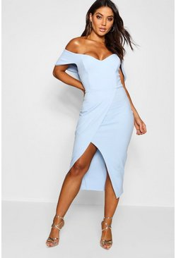 Womens Sky Off the Shoulder Wrap Skirt Midi Dress