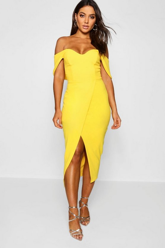 Yellow Off the Shoulder Wrap Skirt Midi Dress